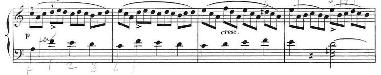 ブルグミュラー「25の練習曲第12番「さようなら」イ短調Op.100-12」ピアノ楽譜3