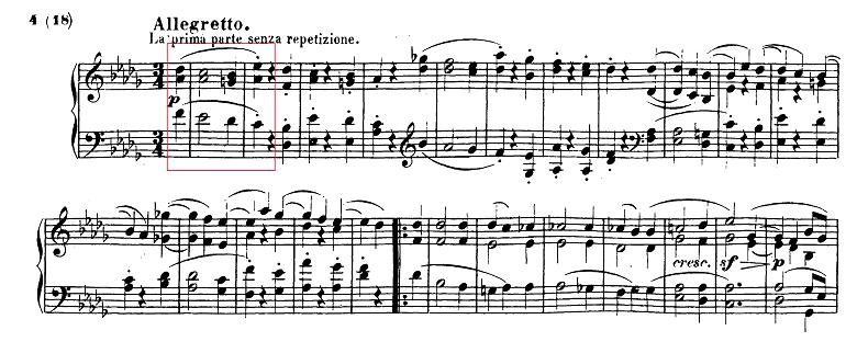 ベートーヴェン「ピアノソナタ第14番「月光ソナタ(幻想曲風ソナタ)」嬰ハ短調Op.27-2第2楽章」ピアノ楽譜1