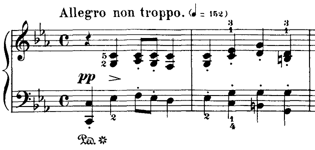 ブルグミュラー「18の練習曲第4番「ジプシー」ハ短調Op.109-4」ピアノ楽譜1