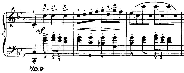 ブルグミュラー「18の練習曲第4番「ジプシー」ハ短調Op.109-4」ピアノ楽譜2