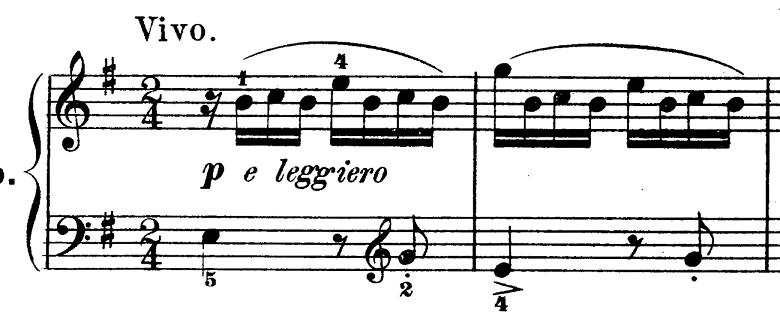 ダカン「クラヴサン曲集第1巻第3組曲第1曲『かっこう』ホ短調」冒頭のピアノ楽譜