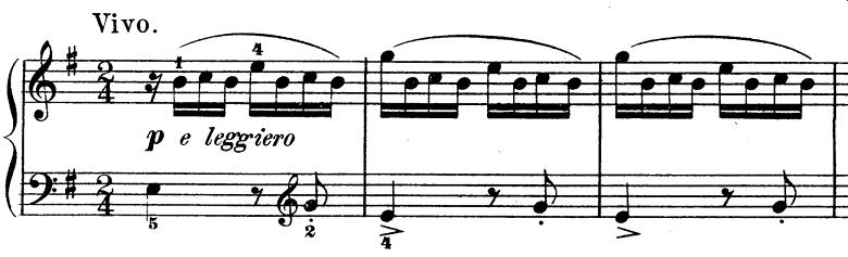 ダカン「クラヴサン曲集第1巻第3組曲第1曲『かっこう』ホ短調」ピアノ楽譜(かっこうの鳴き声1)