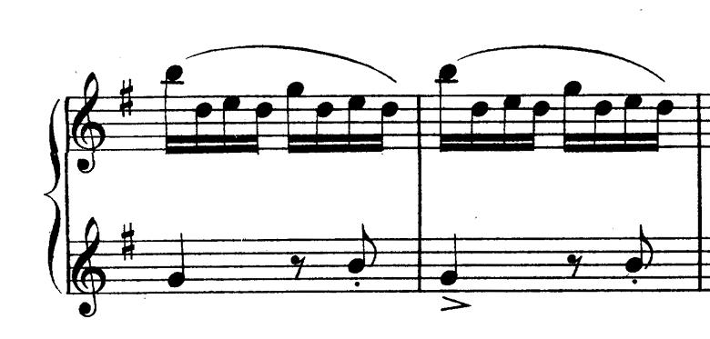 ダカン「クラヴサン曲集第1巻第3組曲第1曲『かっこう』ホ短調」ピアノ楽譜(かっこうの鳴き声2)
