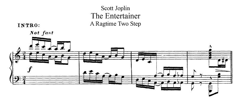 ジョプリン「ジ・エンターテイナー」ハ長調の冒頭のピアノ楽譜