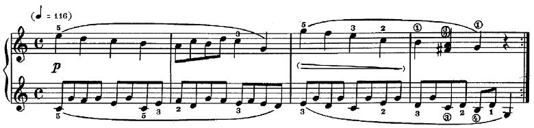 シューマン「子供のためのアルバム第1曲メロディー」ハ長調Op.68-1ピアノ楽譜2