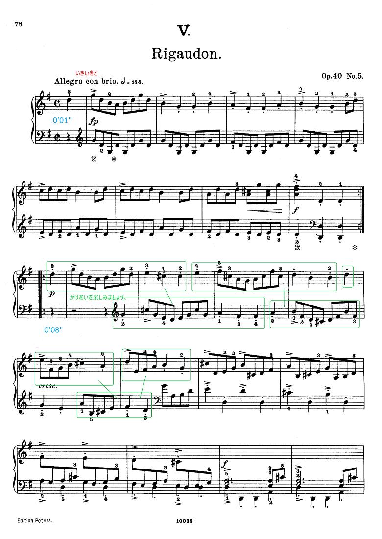 グリーグ組曲「ホルベアの時代から(ホルベルク組曲)」Op.40リゴードン(Rigaudon) ピアノ楽譜1