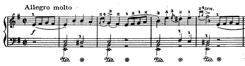 ラモー「クラヴサン曲集第8曲「タンブラン」ホ短調RCT2-8」ピアノ楽譜1