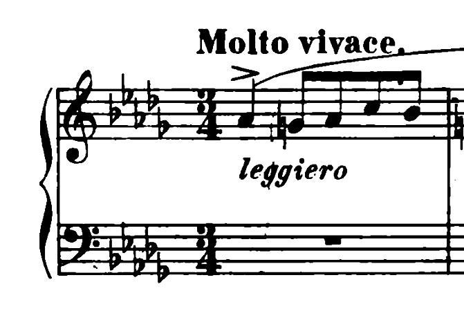 ショパン「ワルツ第6番『子犬のワルツ』変ニ長調Op.64-1」冒頭のピアノ楽譜