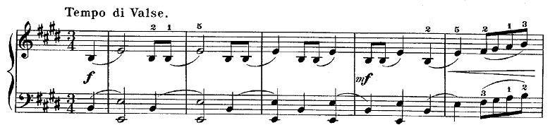 ショパン「ワルツ第15番ホ長調遺作」冒頭のピアノ楽譜