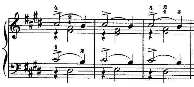 ショパン「ワルツ第15番ホ長調遺作」主役と脇役を考える部分のピアノ楽譜