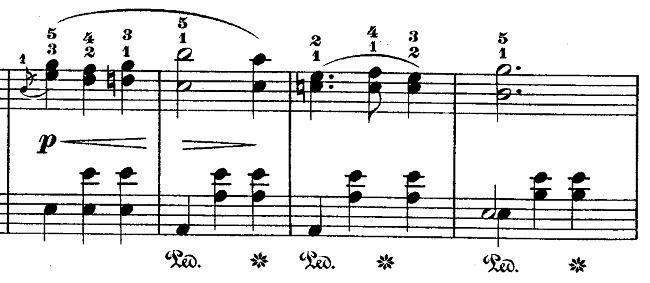 ショパン「ワルツ第15番ホ長調遺作」アクセントに気をつける部分のピアノ楽譜