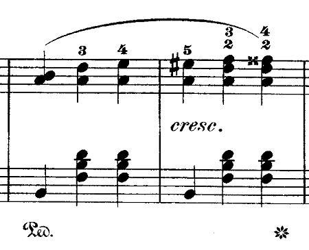 ショパン「ワルツ第15番ホ長調遺作」「ラ」の音が引き立てる部分のピアノ楽譜