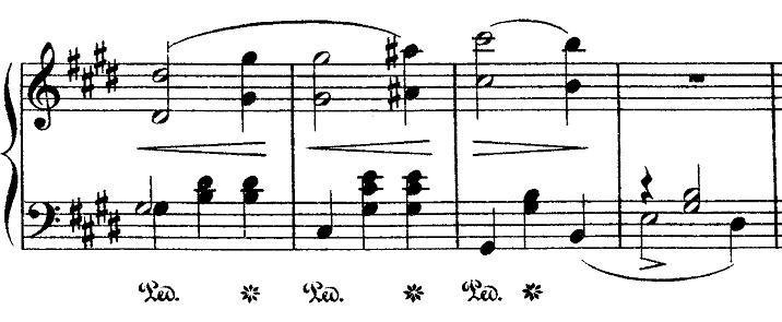 ショパン「ワルツ第15番ホ長調遺作」オクターブ部分のピアノ楽譜