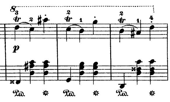 ショパン「ワルツ第15番ホ長調遺作」トリル部分のピアノ楽譜
