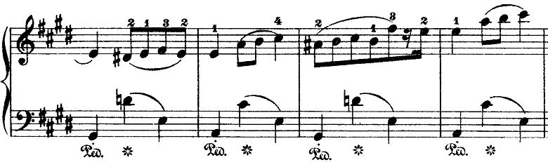 ショパン「ワルツ第15番ホ長調遺作」盛り上がる部分のピアノ楽譜