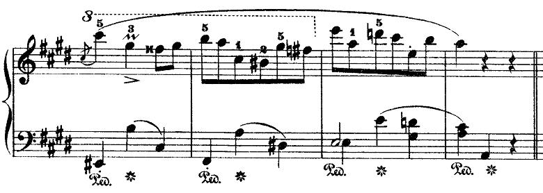 ショパン「ワルツ第15番ホ長調遺作」見せ場の部分のピアノ楽譜