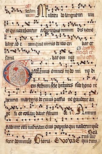 11世紀頃の楽譜:4線譜