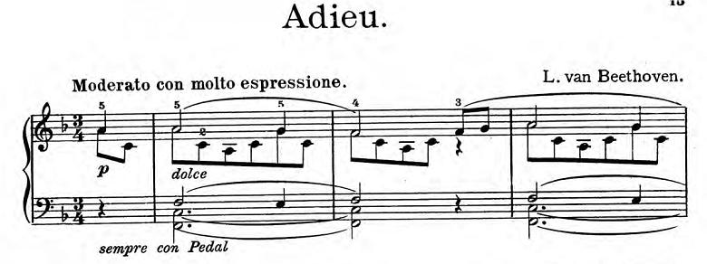 ベートーヴェン「「さらばピアノよ」ヘ長調Anh.15」ピアノ楽譜