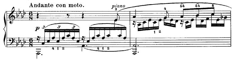 メンデルスゾーン「無言歌集第3巻第6曲「デュエット」変イ長調Op.38-6」ピアノ楽譜1