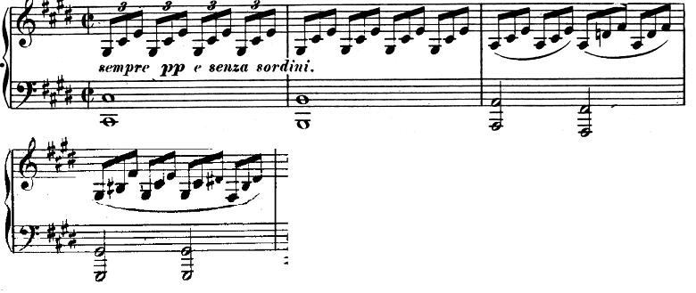 ベートーヴェン「ピアノソナタ第14番「月光ソナタ(幻想曲風ソナタ)」嬰ハ短調Op.27-2第1楽章」ピアノ楽譜2
