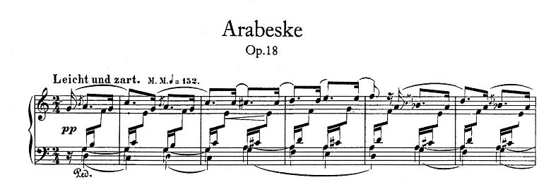 シューマン「アラベスクハ長調op.18」ピアノ楽譜1