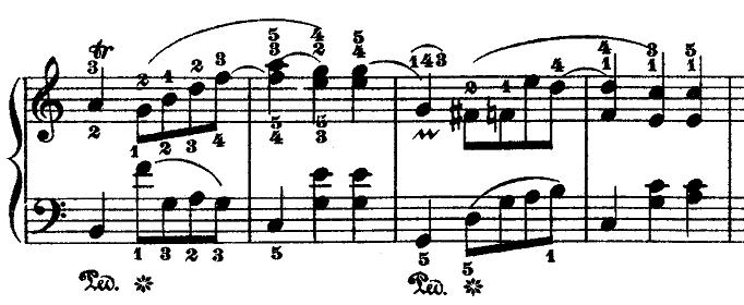 ショパン「ワルツ第3番『華麗なる円舞曲』イ短調Op.34-2」トリルが出てくる部分のピアノ楽譜