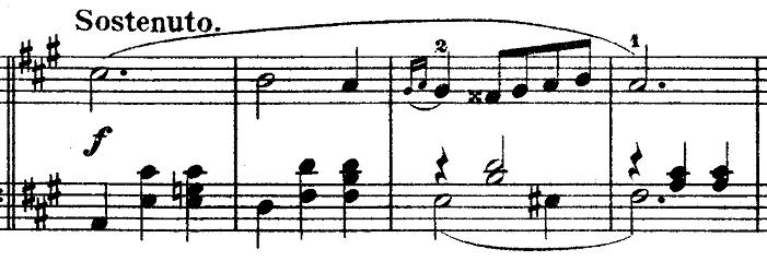 ショパン「ワルツ第3番『華麗なる円舞曲』イ短調Op.34-2」イ短調からイ長調に変化した部分のピアノ楽譜