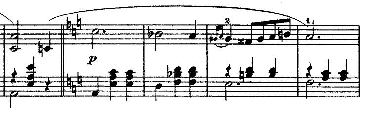 ショパン「ワルツ第3番『華麗なる円舞曲』イ短調Op.34-2」イ短調に戻った部分のピアノ楽譜