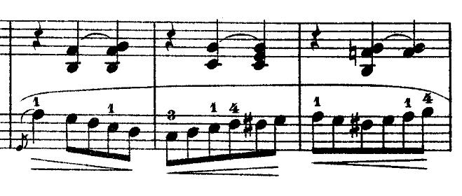 ショパン「ワルツ第3番『華麗なる円舞曲』イ短調Op.34-2」左手に長めのスラーがついている部分のピアノ楽譜