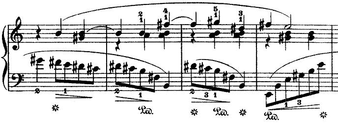 ショパン「ワルツ第3番『華麗なる円舞曲』イ短調Op.34-2」ホ長調の響きになる部分のピアノ楽譜