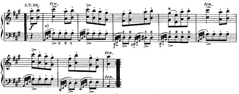 モーツァルト「ピアノソナタ第11番イ長調K.331第3楽章「トルコ行進曲」」ピアノ楽譜3