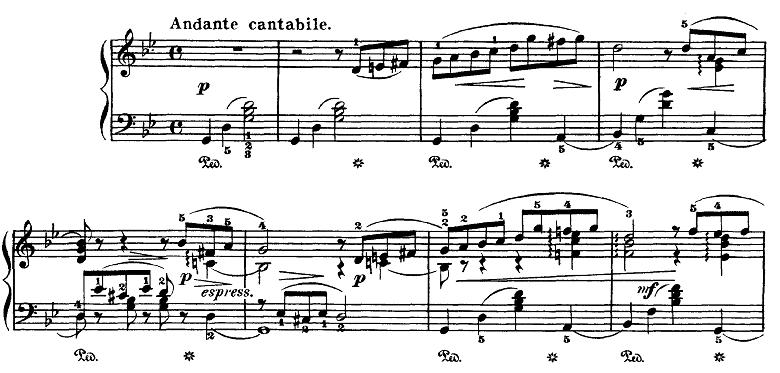 チャイコフスキー「四季6月「舟歌」ト短調」ピアノ楽譜1