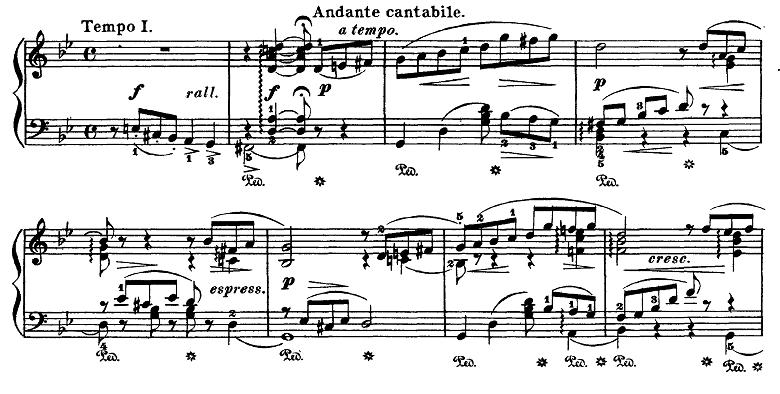 チャイコフスキー「四季6月「舟歌」ト短調」ピアノ楽譜2