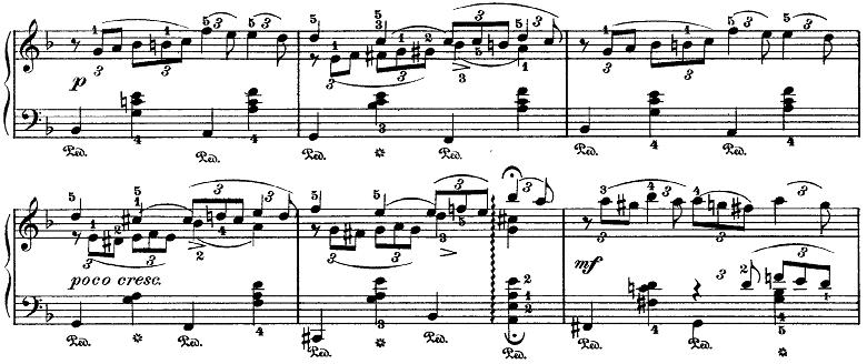 チャイコフスキー「四季10月『秋の歌』ニ短調」ピアノ楽譜2
