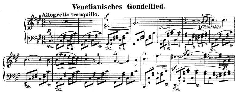 メンデルスゾーン「「ヴェネツィアの舟歌」嬰ヘ短調Op.30-6」ピアノ楽譜1