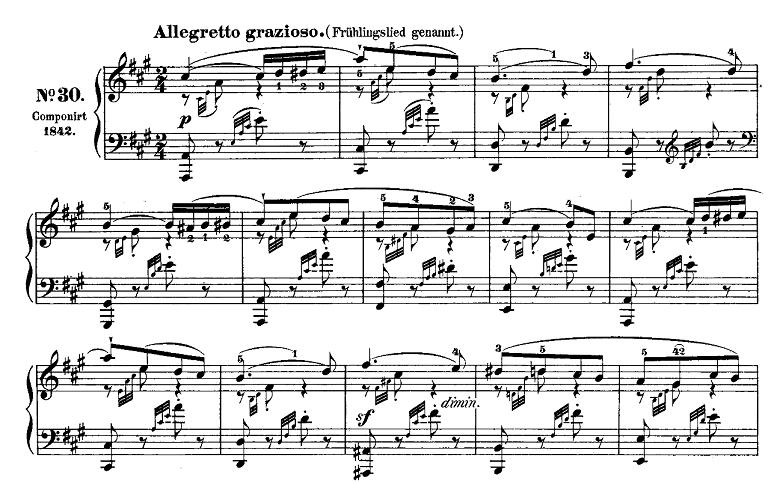 メンデルスゾーン「「春の歌」イ長調Op.62-6」ピアノ楽譜