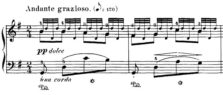 ブルグミュラー「18の練習曲第5番「泉」ト長調Op.109-5」ピアノ楽譜1