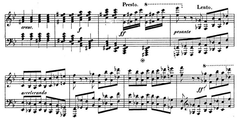 タールベルク「ロッシーニの歌劇『エジプトのモーゼ』による大幻想曲ト短調Op.33」Pesanteの部分のピアノ楽譜