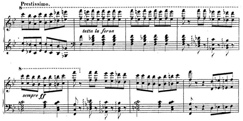 タールベルク「ロッシーニの歌劇『エジプトのモーゼ』による大幻想曲ト短調Op.33」前に進む部分のピアノ楽譜