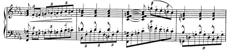 タールベルク「ロッシーニの歌劇『エジプトのモーゼ』による大幻想曲ト短調Op.33」内声を出して立体的に弾く部分のピアノ楽譜