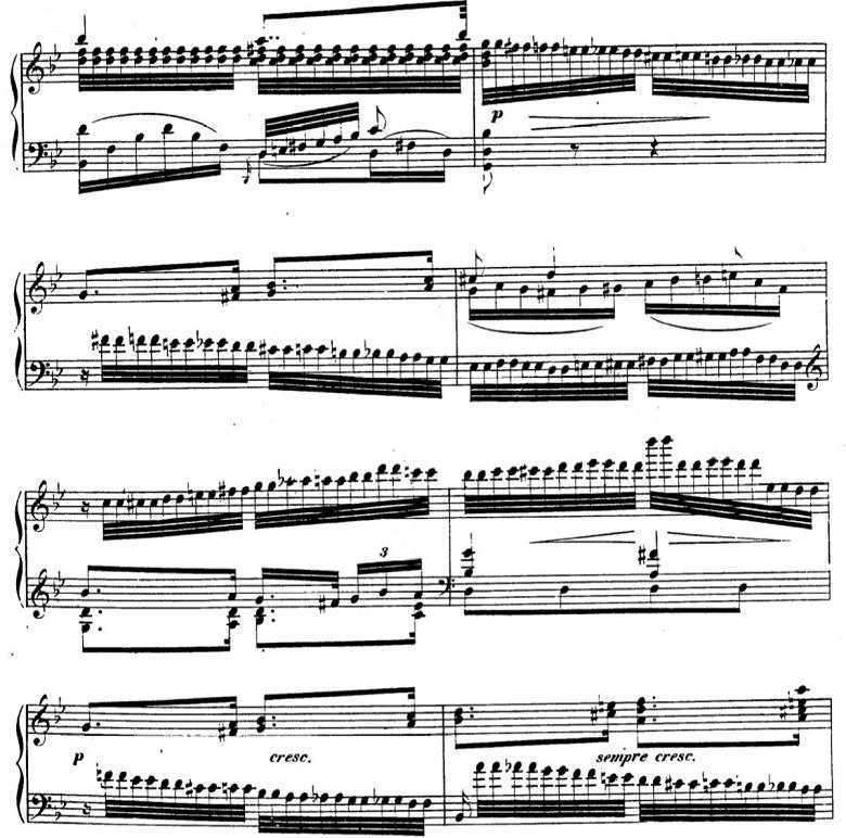 タールベルク「ロッシーニの歌劇『エジプトのモーゼ』による大幻想曲ト短調Op.33」連打部分のピアノ楽譜