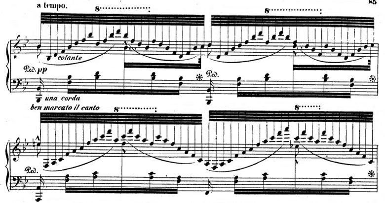 タールベルク「ロッシーニの歌劇『エジプトのモーゼ』による大幻想曲ト短調Op.33」長いアルペジオ部分のピアノ楽譜