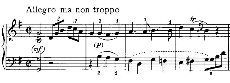 ベートーヴェン「ピアノソナタ第20番ト長調Op.49-2第1楽章」ピアノ楽譜1