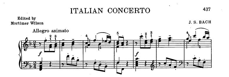 バッハ「クラヴィーア練習曲集第2巻「イタリア協奏曲」ヘ長調BWV971第1楽章」ピアノ楽譜2