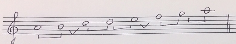 自然的短音階の楽譜