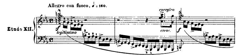 長調と短調の見分け方:ショパン「革命のエチュード」ピアノ楽譜1