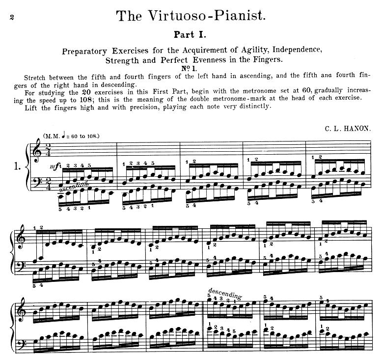 ハノン「60の練習曲によるヴィルトゥオーゾ・ピアニスト」ピアノ楽譜