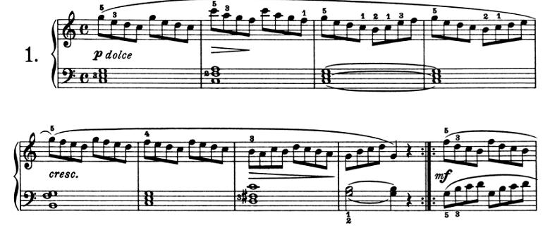 ブルグミュラー「25の練習曲第1番「素直な心」ハ長調Op.100-1」ピアノ楽譜1