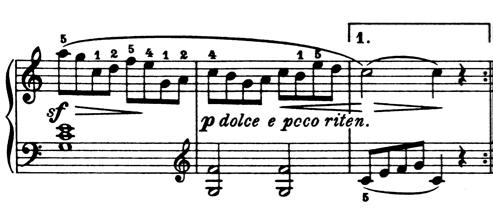 ブルグミュラー「25の練習曲第1番「素直な心」ハ長調Op.100-1」ピアノ楽譜4