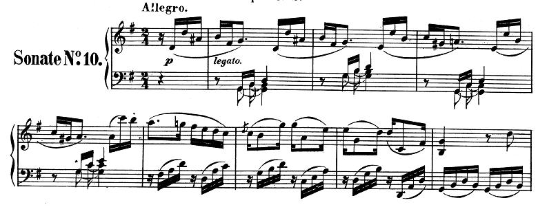 ベートーヴェン「ピアノソナタ第10番ト長調Op.14-2第1楽章」ピアノ楽譜1